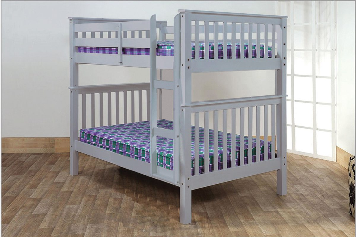 Picture of: T2502 Double Double Bunk Bed Grey Mattress Mall
