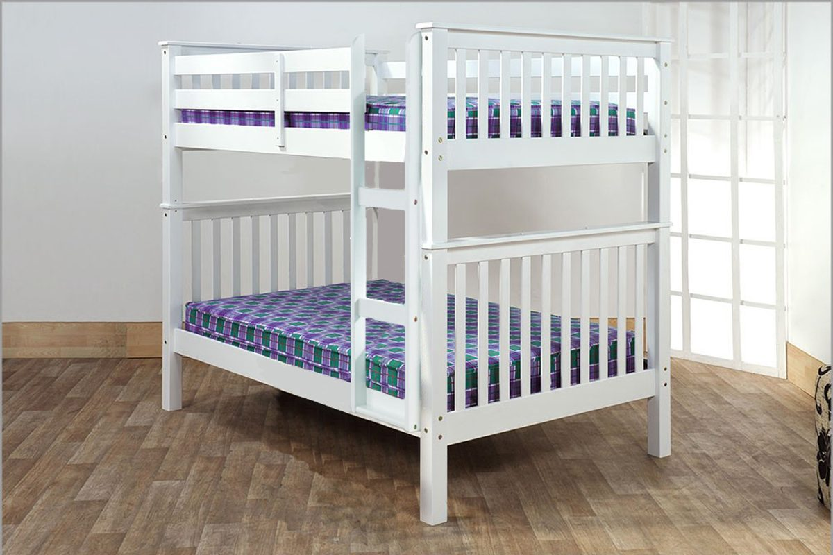 Picture of: T2502 Double Double Bunk Bed White Mattress Mall